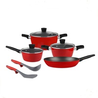 Forged aluminum cookware set even heat cooking pots & pans MSF-6755