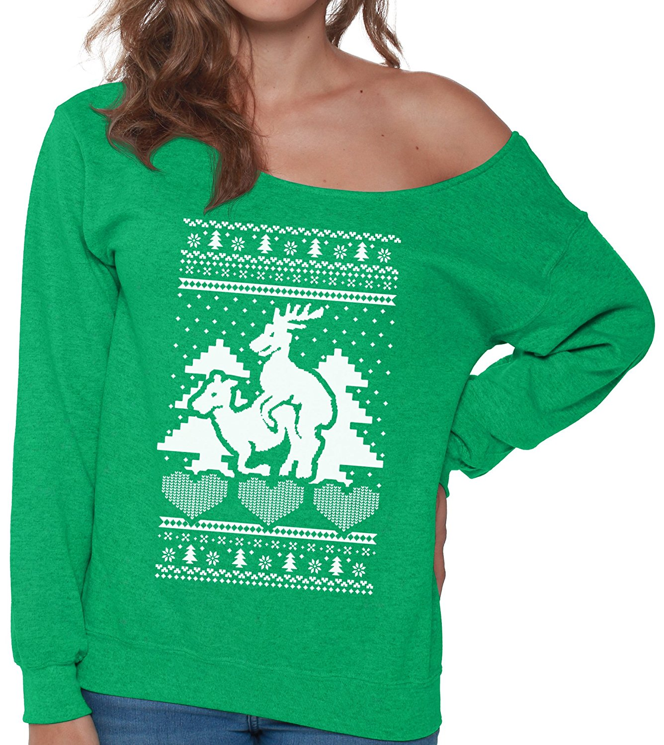 f668cb5be73c Pekatees Reindeer Humping Sweatshirt Humping Sweater Ugly Christmas Sweater  Off the Shoulder Xmas Sweatshirt