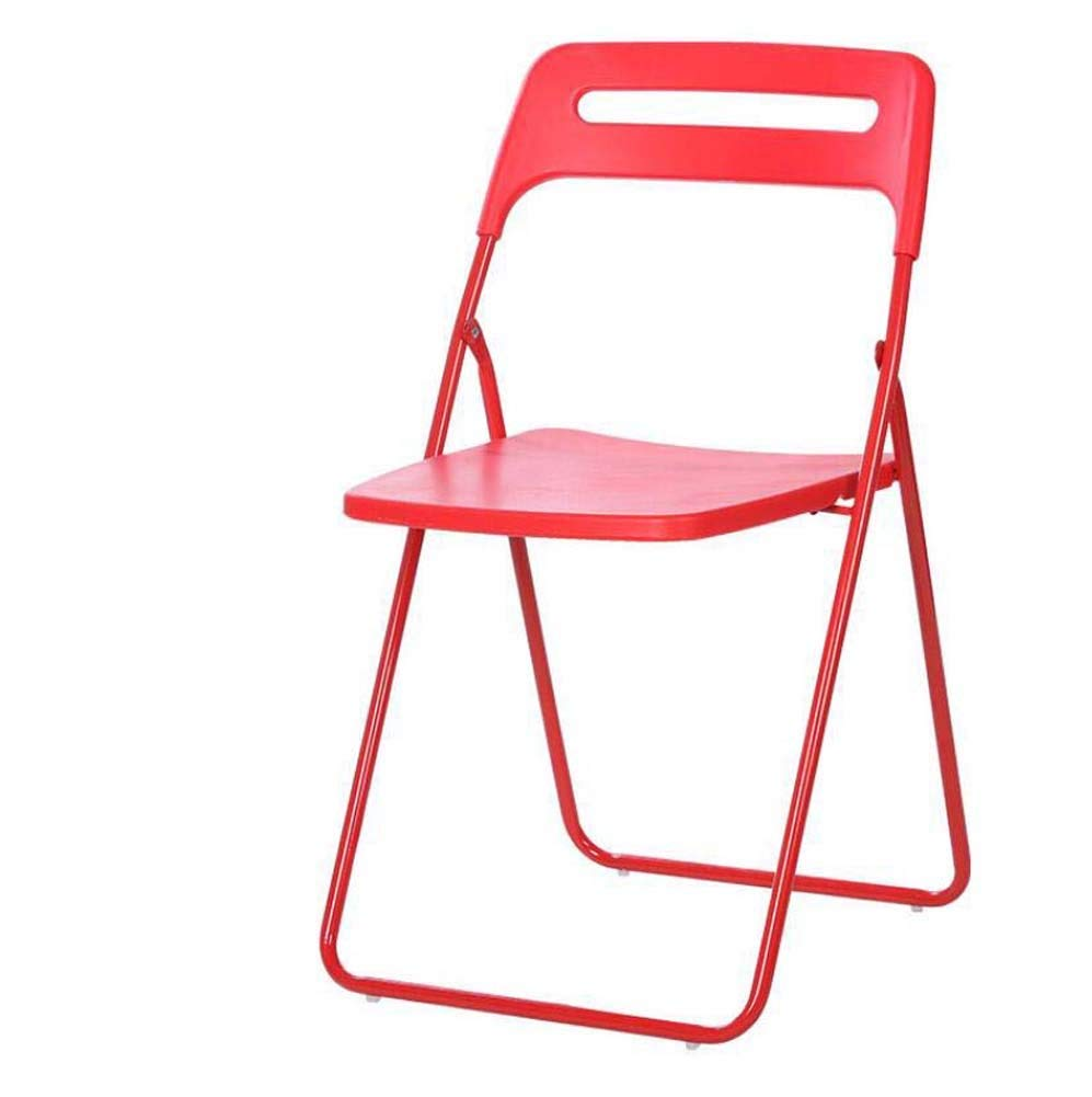 Plastic Folding Chair Nordic Simple Leisure Home Stool Portable Business Office Training Chair Conference Chair Exhibition Chair Back Chair Desk Chair Pure Color Hollow (Color : Red)