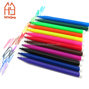 Non-toxic 13.8x0.8cm Plastic 10Colors Water Color Felt Marker Pens For Kids Drawing