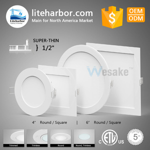Hot-sale China factory ETL CRI>90 slim recessed light fit 6 inch round square 12W ultra-thin led recessed ceiling panel light