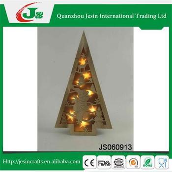 houten kerstboom decoratie met sneeuwpop patroon en led verlichting