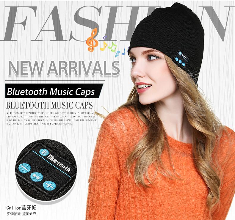 Wholesale Colorful Women's Custom Winter Knit Beanie Hats Wireless Headphone Earphone Bluetooth Music Beanie Hat with Mic