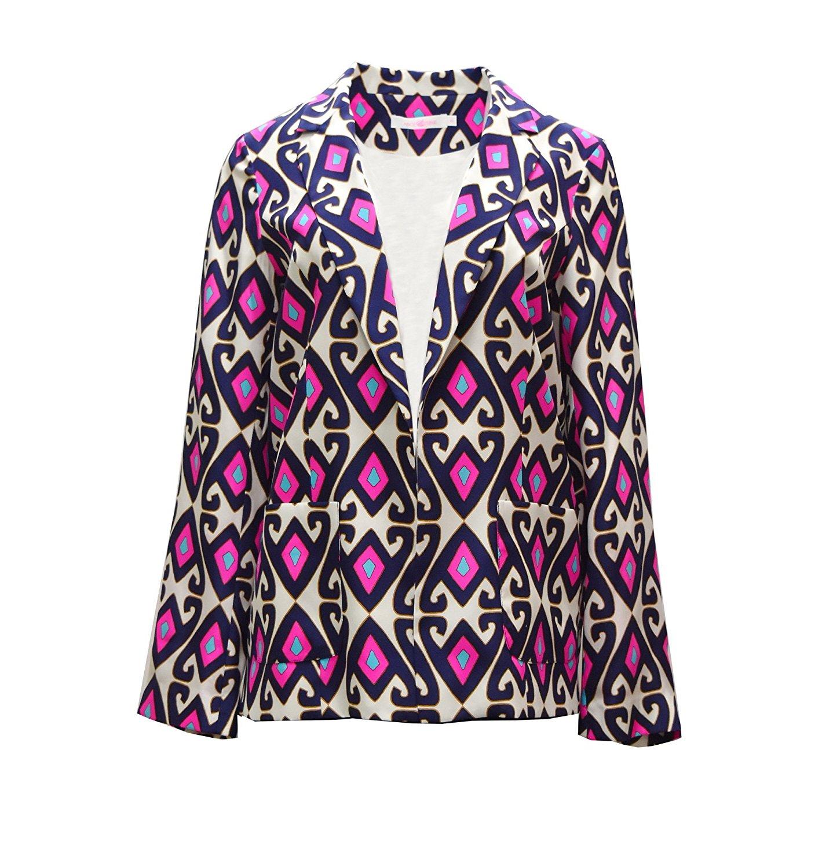 Alice & Trixie Womens Print April Silk Jacket SZ XS Navy Pink White 200644E