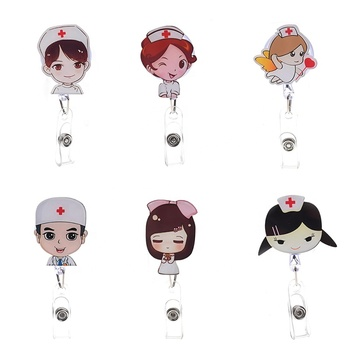 Customize Cartoon Acrylic Plastic Retractable Medical Doctor Nurse Name ID Card Badge Reels