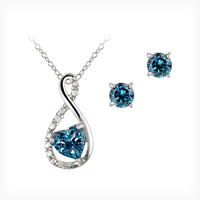 London Blue Topaz Accent Infinity Sets earrings and necklace