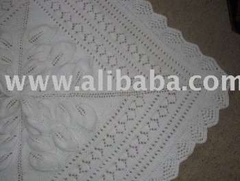 Royal Embossed Leaves Hand Knitted Baby Shawl/blanket - Buy Baby Shawl Produc...