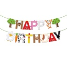BA160 15pcs farm Animals Happy Birthday letter banner for Kids Birthday,farm Themed Birthday Party
