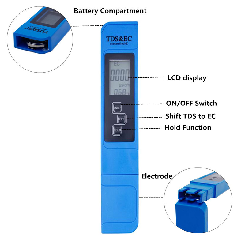 3 In1 Temperature TDS EC Meter pen Water Quality Tester Measurement EC&TDS Tester 0-9000ppm For Drinking Water