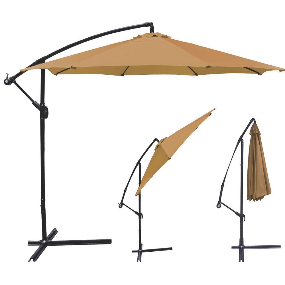 Patio Umbrella Offset Hanging Umbrella 10FT Aluminum Outdoor Umbrella Shade with Crank and Tilt Wind Resistant Umbrella for Beach Cafe Restaurant Market Stall, Tan