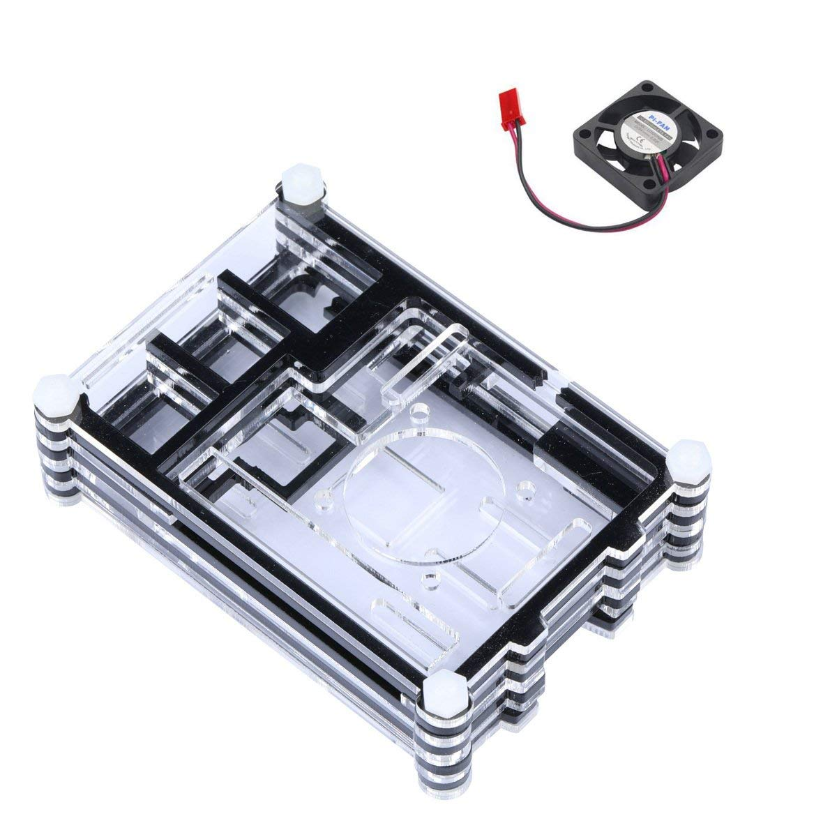 Raspberry Pi 3 Acrylic Case with Cooling fan RPI 3 Shell with Mini Fan Support Raspberry Pi 2
