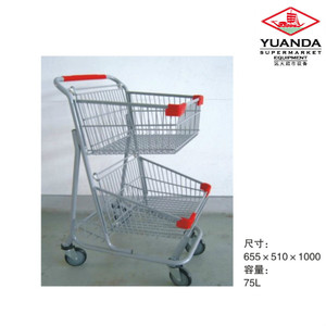 YD-G Germany Style Supermarket Wire Shopping Trolley Smart Cart for Sale with Double Baskets from Suzhou Factory