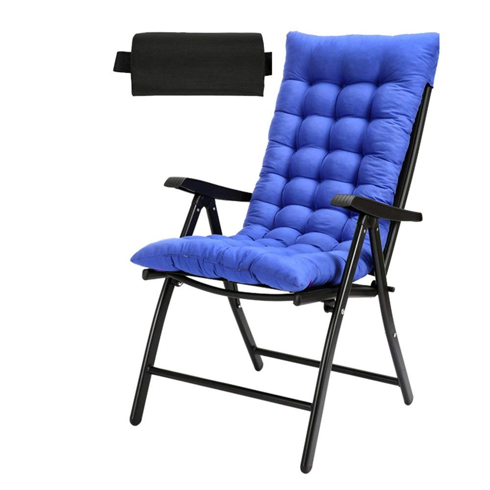 Rocking Chairs MEIDUO Zero Gravity Chaise Lounger Chair Oversized Patio Recliner For Outdoor Support 200kg (Color : Black+Blue pad)