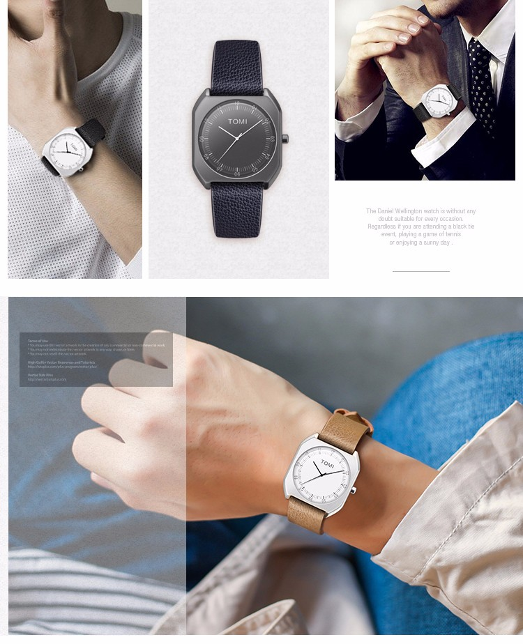 TOMI Brand New Fashion luxury Elegant woman Watches Simple Ultra Thin dial Casual Male Quartz Clock Man Watch Wristwatch Gift