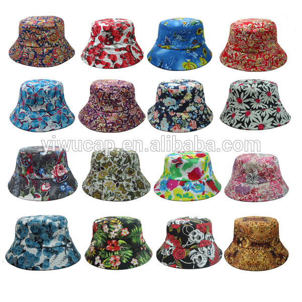 2e2a67ecaa7 Wholesale many types of bucket hats hot sale cheap custom high quality  sublimation floral printed bucket