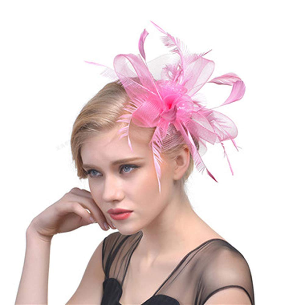 6be5f0b3a707f Get Quotations · Unijew Fascinators Hat Women Tea Party Cosplay Sinamay  Fascinator Headband Kentucky Derby Wedding Cocktail Red Fascinator