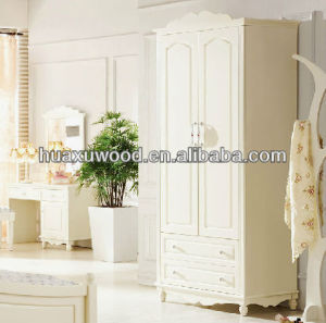 Ivory White double door Double drawer wardrobe