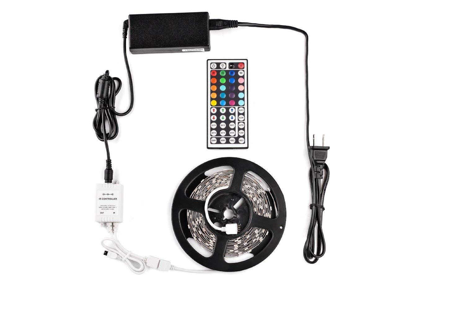 TaoTronics? TT-SL002 16.4ft RGB Color Changing Kit with LED Flexible Strip, Controller with 44 button Remote and Power Supply, 5050RGB Kit
