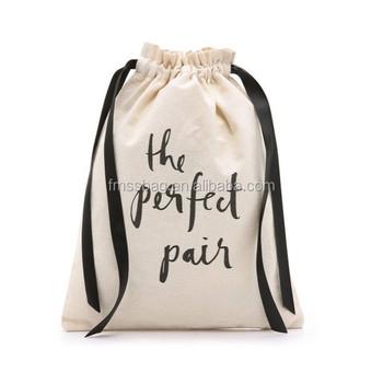 Silk Ribbon Customization Canvas Cotton Drawstring Shoe Bags With Printing