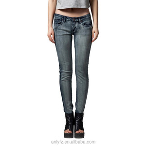 OEM service washed hot selling fashion skinny ladies denim jeans pants for women