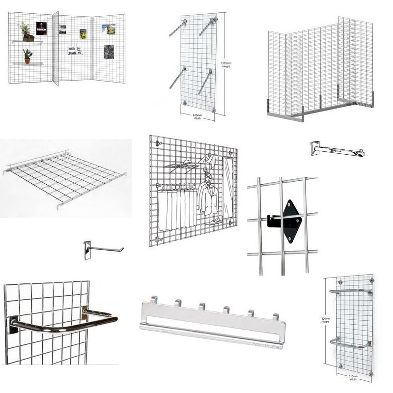 Multi-function Store Fixtures Wire Gridwall Panel For Retail ...