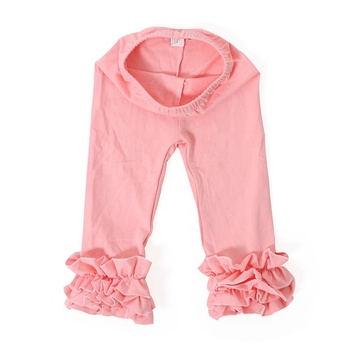 Hot selling boutIique design kids clothes mustard baby leggings girl short icing ruffle pants