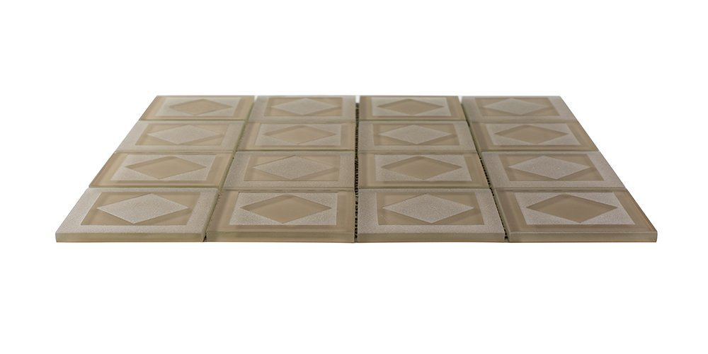 Decorative glass tiles for wall home decor for home floor, kitchen, bathroom carved diamant-glass tile (1 sq ft (1 Box))