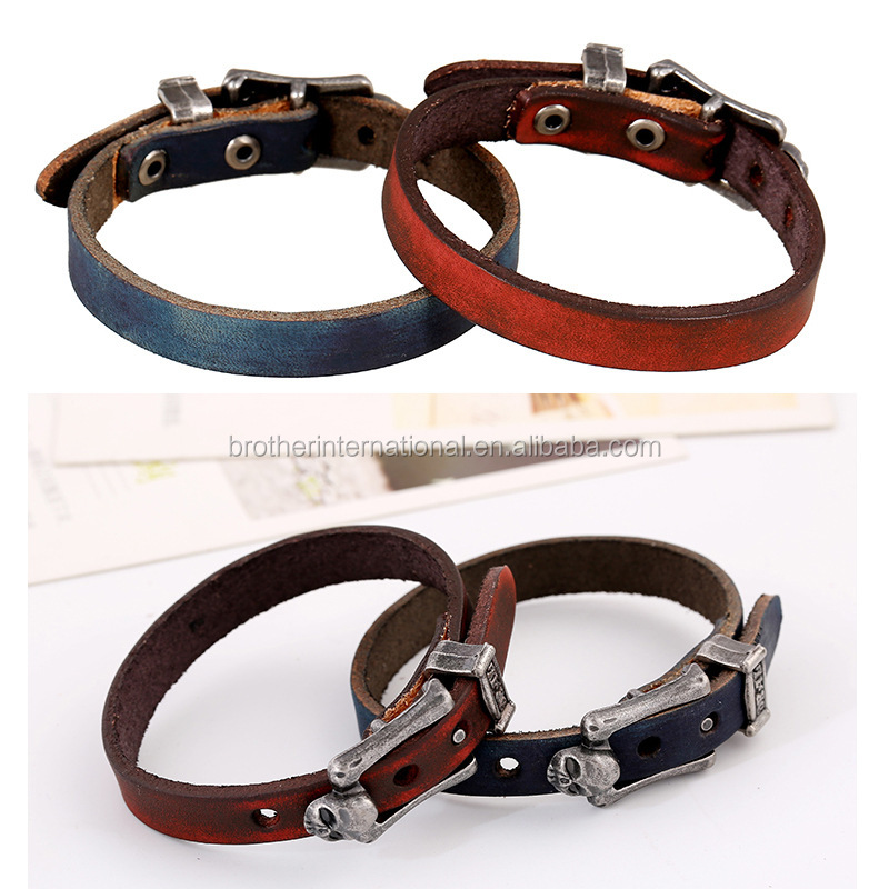 retro old looking mens punk skull bangle wholesale , handmade leather belt bracelet