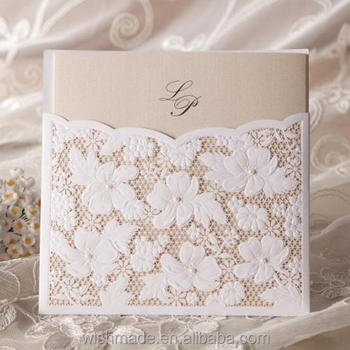 Handmade Wedding Invitation Card With White Laser Cut Design W1101