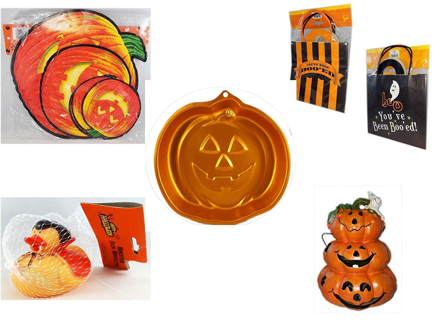 "Halloween Fun Gift Bundle [5 piece] - Classic Pumpkin Cutouts Set of 9 - Halloween ""You've Been Boo'ed"" Boo Kit - Wilton Iridescents Jack-O-Lantern Pan - Happy Halloween Monster Duck Novelty -Vam"