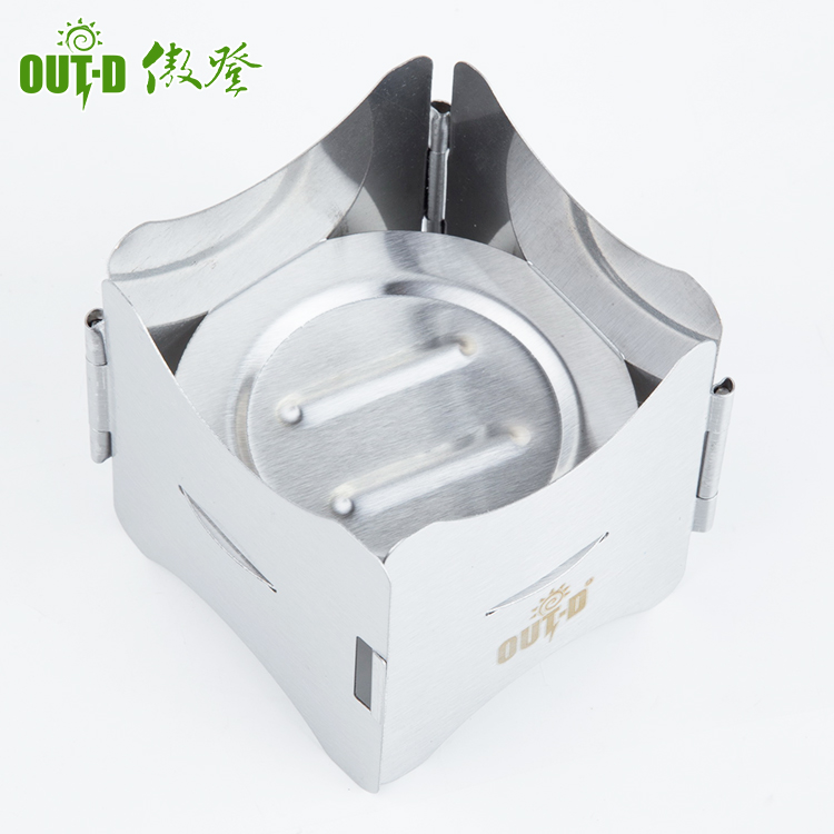 Foldable lightweight stainless steel mini solid alcohole burner
