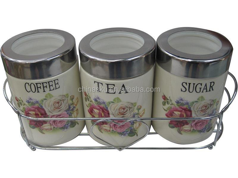 Ceramic canister set tea sugar coffee canisters