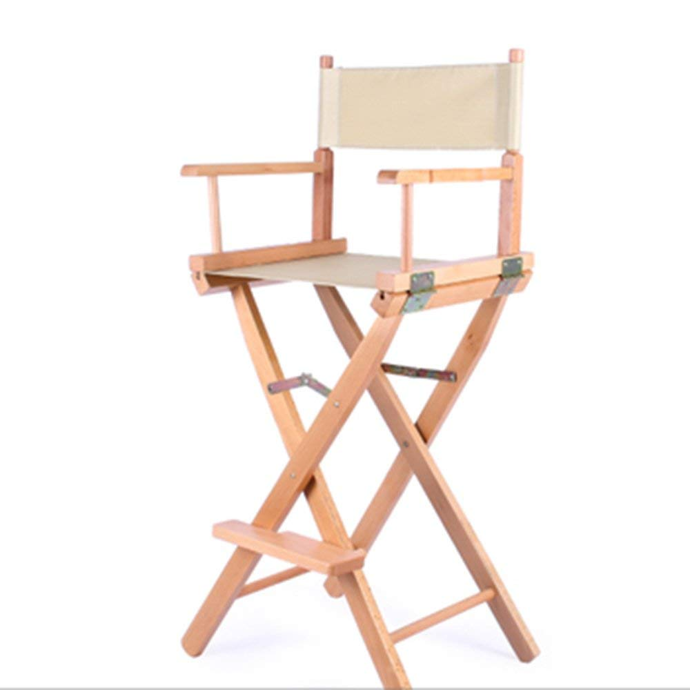 ZHIRONG Solid Wood Folding Chair Outdoor Leisure Chair Portable Director's Chair Breakfast Chair Bar Chair Backrest Cosmetic Stool Easy To Move (Color : Beige)