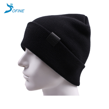 2d1b04413 Wholesale Custom Promotional Women Men Acrylic Knit Winter Hat Knitting  Beanie Warm Cool Plain Knitted Caps With Pu Patch - Buy Knitted Cap,Pu  Patch ...