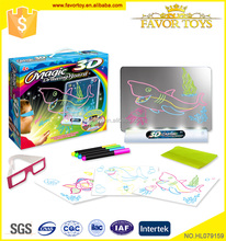Magic colorful intelligent baby drawing board with 3d glasses