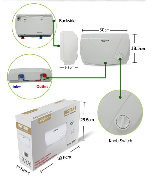 Single Point Instant Electric Bath Water Heater for Low Pressure Area