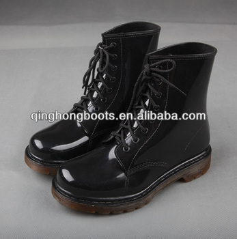 Shiny Black Rain Boots Cowboy Style