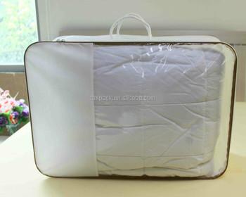 vinyl pvc duvet bedding packaging bag with 2pcs rope handles - Bedding In A Bag