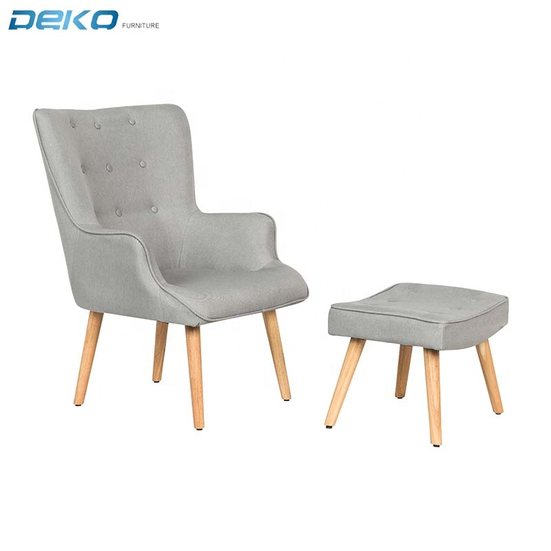 scandinavian wooden home furniture chair With footrest