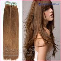 super quality soft remy brazilian tape dark auburn hair extensions