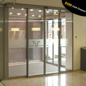 Security stainless steel automatic sliding glass doors