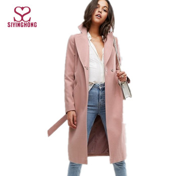 Winter Women Clothing Pink Woolen Trench Coat Ladies Long Worsted