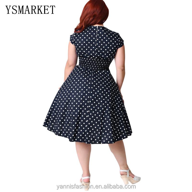 Frauen Sommer Druck Partei Vintage Midi Kleid Schwarz Weiß Polka Dot ...