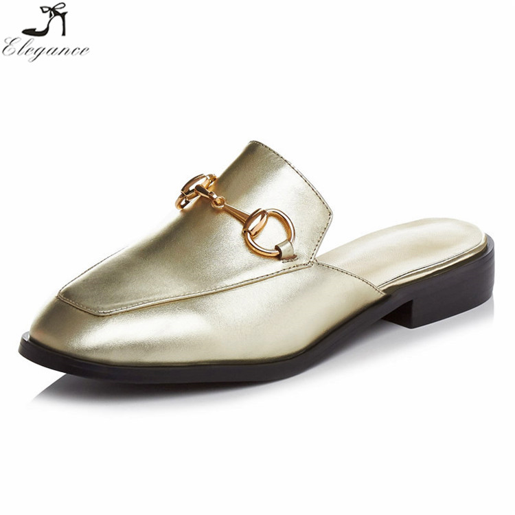 <strong>Fashionable</strong> For Womens Gold Leather Material Horsebit Slingback Cloesd Toe High-end Loafers Lady Flat Modern Shoe Mules Slippers