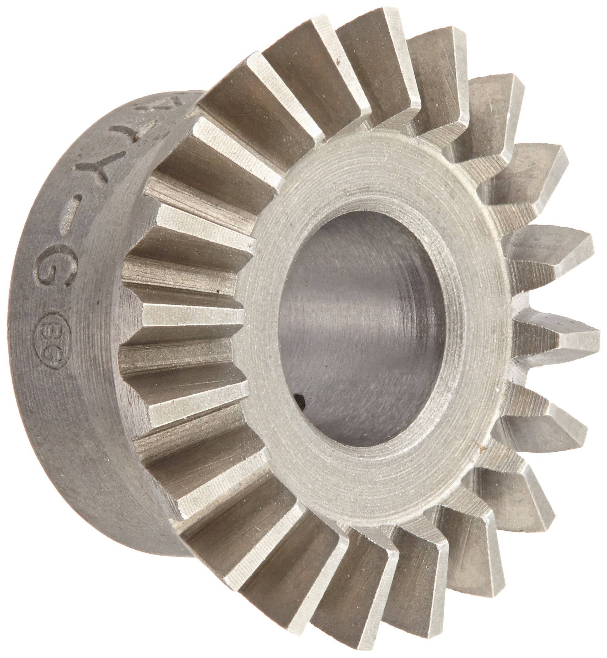 "Boston Gear HL147Y-G Bevel Gear, 2:1 Ratio, 0.375"" Bore, 20 Pitch, 20 Teeth, 20 Degree Pressure Angle, Straight Bevel, Steel with Case-Hardened Teeth"