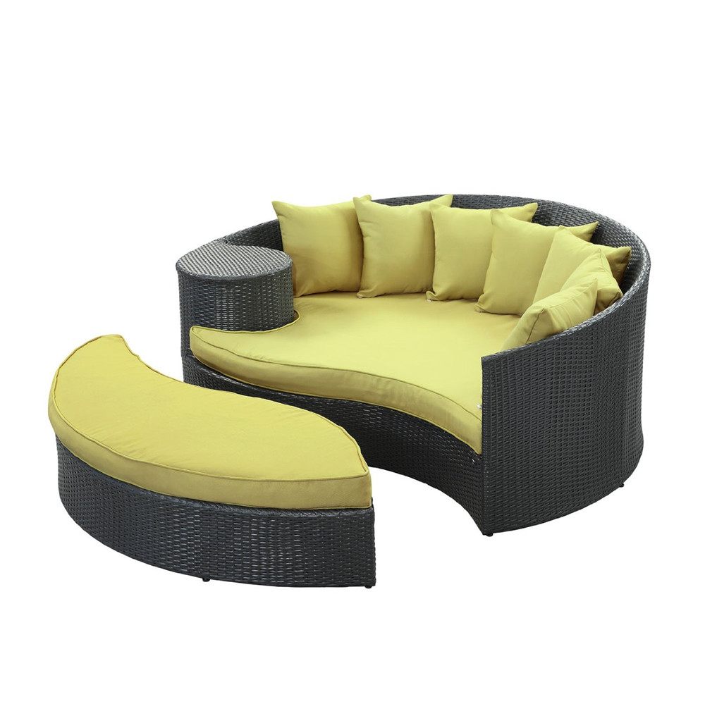 chaise longue en rotin avec auvent pas cher en plein air. Black Bedroom Furniture Sets. Home Design Ideas