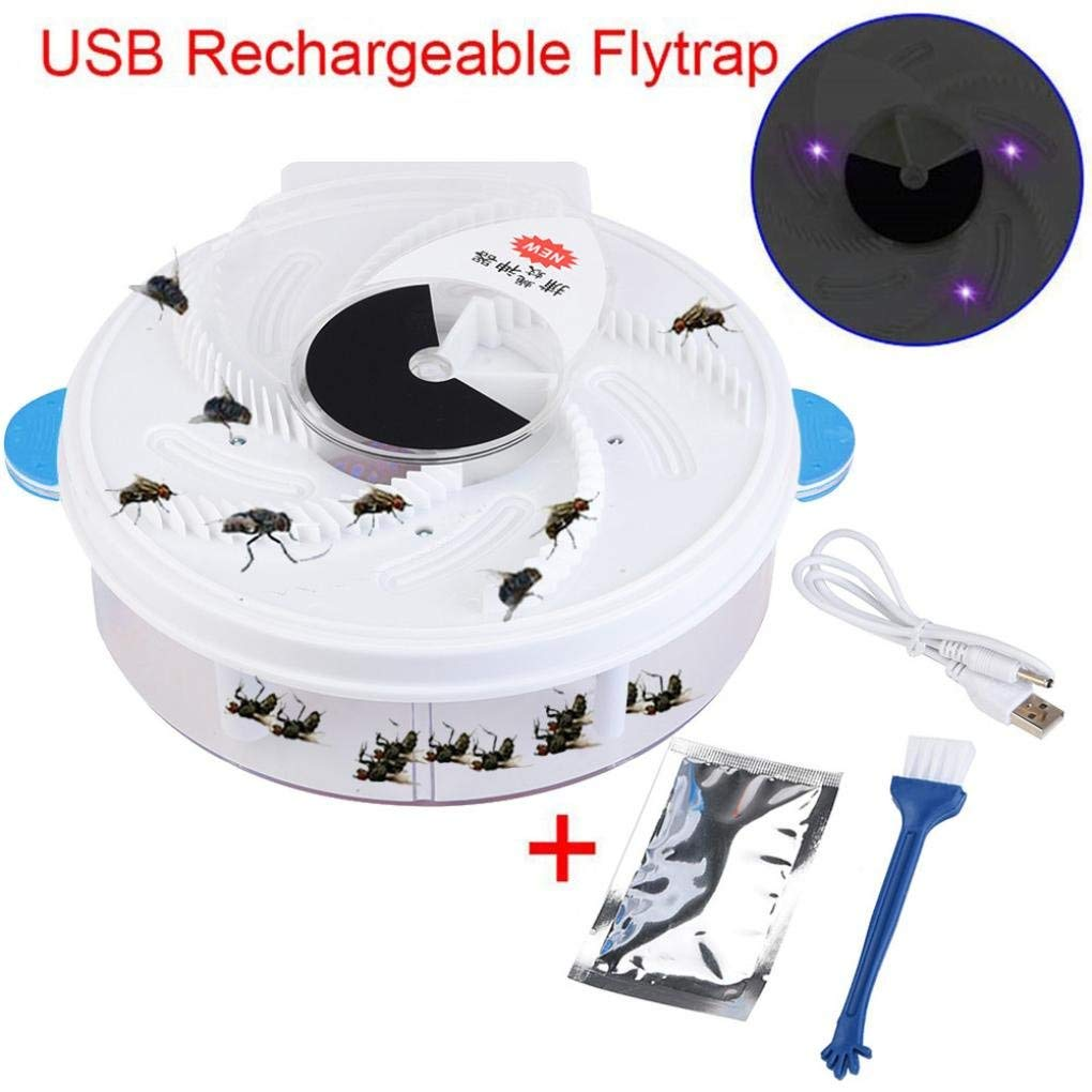 Makaor Fly Catcher Electric Fly Trap Device Autumatic Electric Purple Light Fly Trap USB Recharge Device with Trapping Food+Brush (Blue, Size: 225 x 205 x 82 mm)