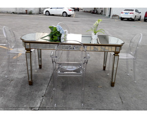Mirrored Rectangle Long Dining Table for Event Rent Wedding Furniture