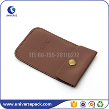Fashion design embossed logo faux leather pouch