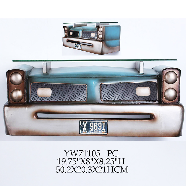 Hot design 3d car decorative metal wall shelf for bar club